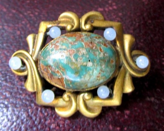 1920s Turquoise Brooch in Rolled Gold ART DECO Antique Vintage Estate Jewelry