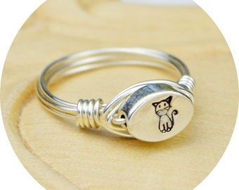 Cat Ring- Sterling Silver, Yellow or Rose Gold Filled with Oval Cat Hand Stamped Sterling Silver Bead - Any Size 4,5,6,7,8,9,10,11,12,13,14