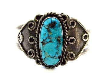 Vintage Sterling Silver Southwestern Stunning Oval Turquoise Cuff Bracelet