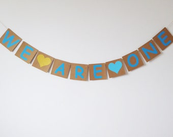 Twins birthday we are one bunting, Twins first birthday, gold, blue