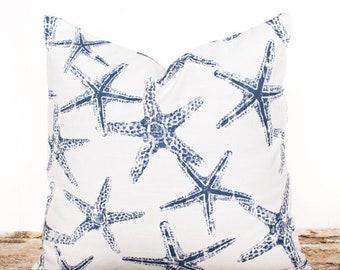 SALE ENDS SOON Blue Starfish Pillow Cover, Navy Pillows, Navy and White Nautical Pillows, Beach Pillows, Ocean Theme Pillow Covers