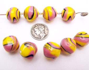 Psychedelic Swirl 14.5mm Glass Lampwork Bead (1 piece)