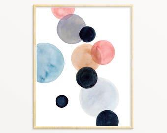 Scandinavian Style Art. Blush & Black Abstract Art Print. Minimalist Watercolor Painting. Modern Nursery Wall Art. Pastel Geometric Art.