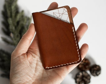 Leather cardholder, Leather cardwallet, minimalist wallet, leather wallet, slim wallet, brown leather