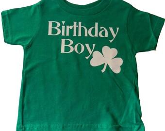Shamrock Birthday Boy T-Shirt, Irish 4-Leaf Clover