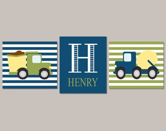 Construction Nursery, Construction Name Art, Boys Room, Nursery Prints or Canvas, Trucks Nursery Wall Art, Boy Nursery Decor, Set of 3