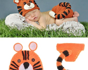 Baby outfit photo prop, Tiger costume ,Baby boys Crochet Knit Costume,Photo Photography Outfits,baby accessories, new born prop, photo prop