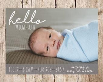 Birth Announcement, Baby Announcement, Hello Birth Announcement, PRINTABLE, Photo Birth Announcement, Picture Birth Announcement