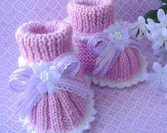 Baby Girl Booties | Pink Baby Girl Booties | Hand Knit Baby Girl Booties | Infant Booties | Baby Girl Shoes | Baby Girl Slippers