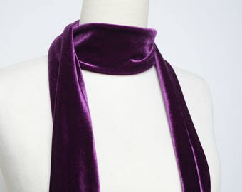 Purple Velvet Skinny Scarf, Skinny Scarf Velvet, Scarf Headband, Women's Skinny Scarf, Necktie, Neck Scarf, Headband, Turban