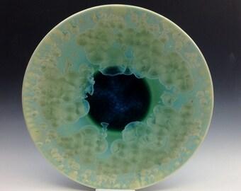 Large Green Crystalline Glazed Platter - Crystalline Glaze - Crystalline Platter - Centerpiece - Green Platter - Teal Plate