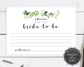 Wedding Advice for the bride-to-be card template, Instant download printable PDF, bridal shower, mommy, greenery rustic theme (TEW461_1)