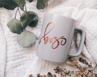 White or Grey Ceramic Mug, Matte Grey Mug, Holiday Mug