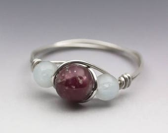 Lepidolite & Aquamarine Sterling Silver Wire Wrapped Bead Ring - Made to Order, Ships Fast!