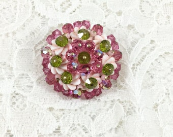Vintage Pink and Green Bead Flower Brooch