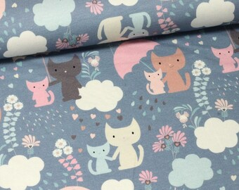 Hilco Cats on grey cotton jersey