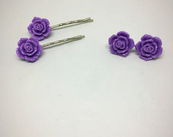 Purple rose hair pins and earrings - Matched set - Special deal - Resin roses - Nickel free earrings - Gift for her - Gift set - Nickel free