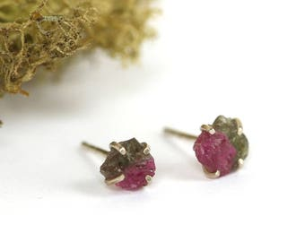Sterling Silver and Watermelon Tourmaline Earrings | Pink Tourmaline Post Earrings | Edgy Earrings