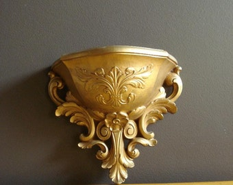 Golden Wall Pocket - Vintage Ornate Display Pocket or Shelf