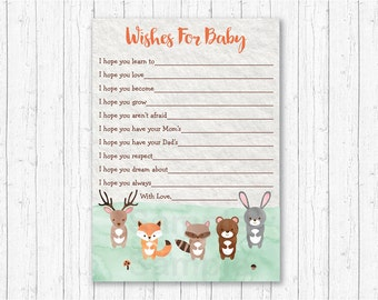 Cute Woodland Animal Wishes for Baby Cards / Woodland Baby Shower / Forest Animals / Watercolor / Gender Neutral / INSTANT DOWNLOAD A156