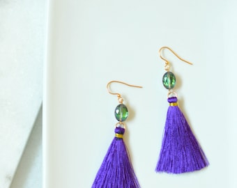 Purple tassel earrings, gold earrings with tassel, long gold earrings, vacation jewelry, gift for her