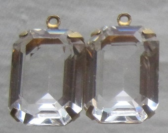 Crystal Clear, Unfoiled, 21MM, 1 Ring, Swarovski Crystal,  Rectangle, Octagon, Rhinestone, Brass, OB, Prong, Setting, Connector,