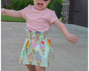 Ice Cream Skirt- Ice Cream Headband; Baby Skirt; Ice Cream Bow; Toddler Skirt; Ruffle Skirt; High Waist Skirt; Ice Cream Headwrap; Outfit