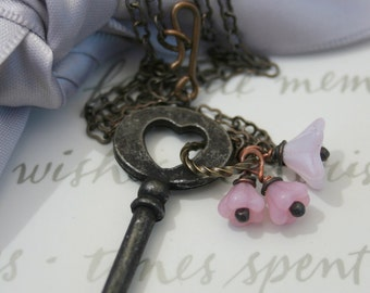 Vintage style Key necklace with Brass chain and Czech glass flower accents