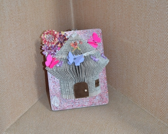 folded book art, centerpiece,fairy house, home decor, wall hanging, wall art, first birthday, party decoration, shower gift, birthday gift,