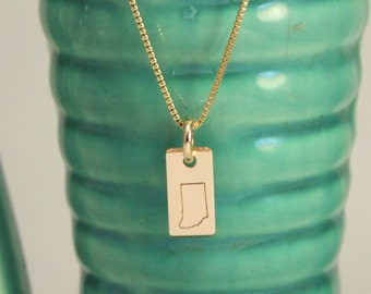 indiana necklace, gold necklace, state necklace, christmas gift, gift for women, state jewelry, tag you're it, handstamped gift, girlfriend