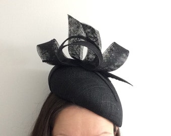 Black Beret Fascinator made from Sinamay with Arrowhead Feather