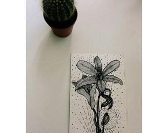 Floral Watercolor Postcard / Original Artwork