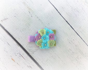 Flower clip Hydrangea hair clip cutie Soft Bright Clip  Pick one or two.