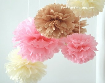 SALE - Baby Girl Nursery - 7 Tissue Paper Pom Poms - Fast Shipping - also good for Wedding / Baby Shower / Birthday Party