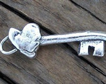 Rustic Sterling Silver KEY to my HEART Charm -8x26mm