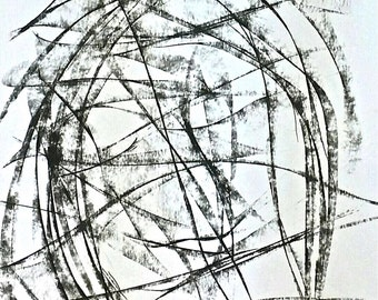 Great abstraction.Charcoal drawing.Multiple interpretations.Caleidoscopic value. People, animals, plants... you can see all of it! Let it be