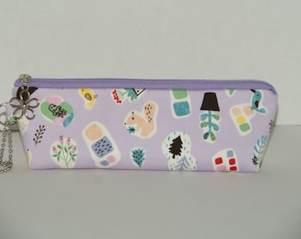 """Padded Zipper Pouch / Pencil Case with Gusset Made with Japanese Cotton Oxford Fabric """"Squirrel & Bird"""""""