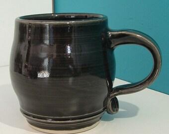 Handmade Coffee Mug, Black Mug, Large Handle Mug
