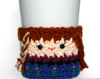 Crochet Frozen Anna Coffee Cup Cozy