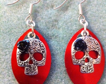 Sugar Skull Earrings with Red Scales and Black Roses