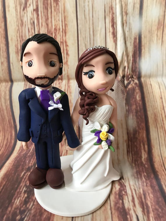 Fully personalised clay Wedding Cake Topper bride and groom/ same sex wedding