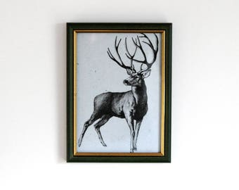 "Drawing ""Deer"" - Ink drawing - Framed artwork - Artsy present - Home decor - Drawing as gift - Animal art - Fine art"