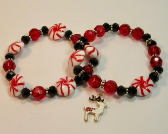 Glass Peppermint Candies, Red & Black Crystal, Reindeer Charm Beaded Stretch Bracelets, Set of 2