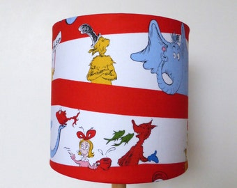 Lampshade made from Dr Seuss Characters Fabric | Children Lamp Shade | Kids | Room decor