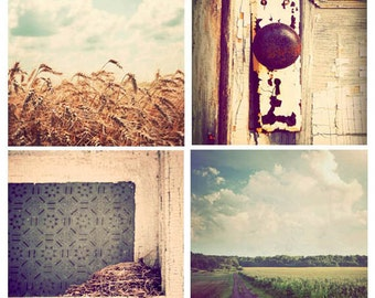 Midwest photography, square photographs, discounted set, set of 4, sale, country art, vintage, fine art, country decor