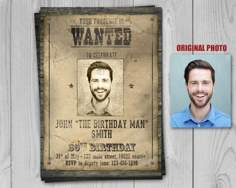 Wanted Poster Birthday Invitation - Western Invitation - Cowboy Birthday Invite and other themes at Printadorable