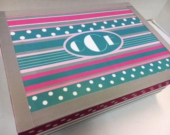 Tourquiose Pink and Gray Pink Ribbon Theme Keepsake Box with Monogram
