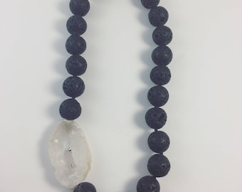 Druzy Agate and Lavastone necklace