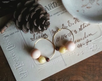 Beaded Hoop Earrings, Little Vintage Bead Hoops, Rustic Wood Bead Earrings, Bohemian Chic Earrings for Women
