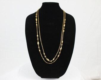Vintage Double Layer Gold Tone Necklace